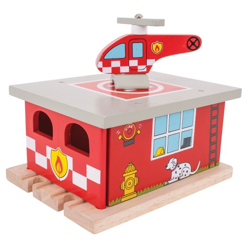 Bigjigs Rail Fire Station Shed Wooden Railway Train Set Accessory - image 1 of 2