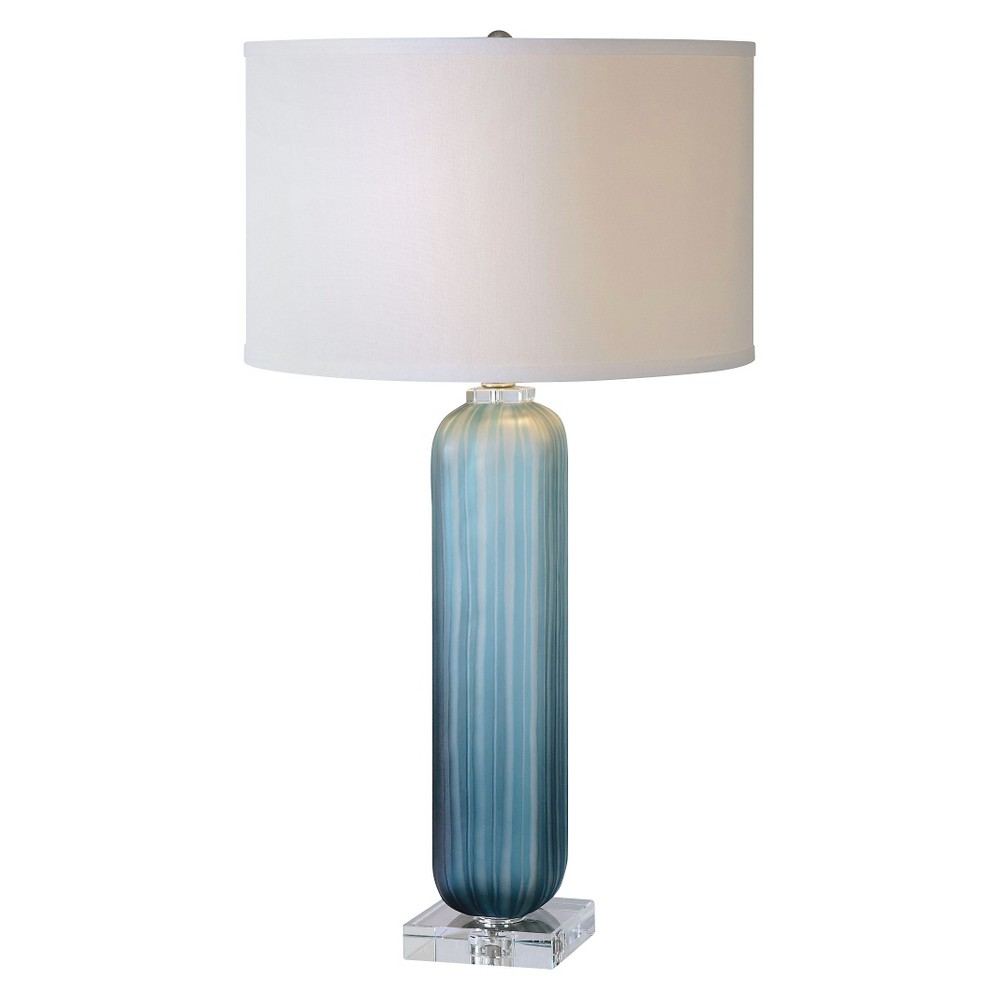 Image of Caudina Frosted Blue Glass Lamp