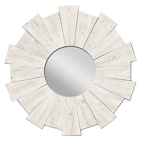 Sunburst Rustic Wood Decorative Wall Mirror White - PTM Images - image 1 of 1
