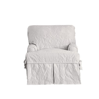 Matelasse Damask Slipcover White - Sure Fit