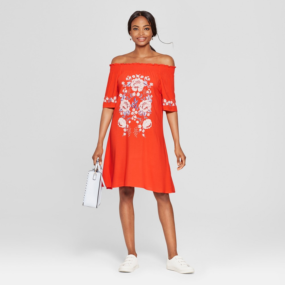 Women's Embroidered Off the Shoulder Dress - 3Hearts (Juniors') Red L, Size: Small was $32.99 now $13.19 (60.0% off)