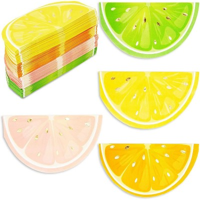 "Blue Panda 100-Pack Citrus Fruit 6.5"" Disposable Paper Napkins with Gold Foil Accents, 4 Colors"
