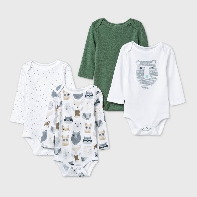 Baby Boys' 4pk Little Cub Long Sleeve Bodysuit - Cloud Island™ Olive Green/White Newborn
