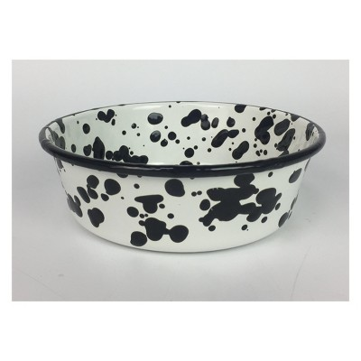 Enameled Metal B&W Splatter Dog Bowl - 4 cups - Boots & Barkley™