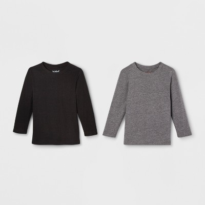 Toddler Boys' Long Sleeve 2pk T-Shirt - Cat & Jack™ Gray/Black 3T