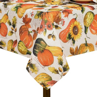 Grateful Season Fall Printed Tablecloth - Orange/Yellow - Elrene Home Fashions