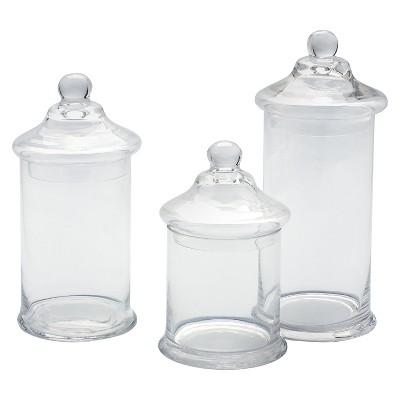 Decorative Glass Jar Set of 3 - Diamond Star