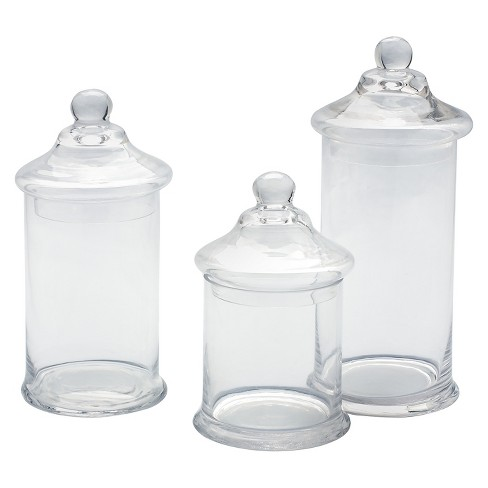 Decorative Glass Jar Set Of 3 Diamond Star
