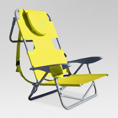 Ostrich Face Down Beach Chair w/ Backpack Straps - Green