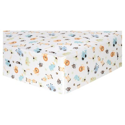 Trend Lab Deluxe Flannel Fitted Crib Sheet - Jungle Friends