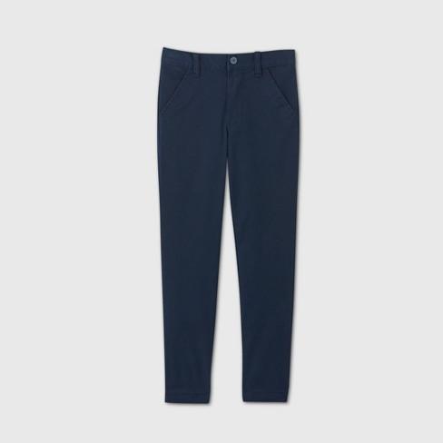 Boys' Flat Front Stretch Uniform Skinny Fit Pants - Cat & Jack™ Navy - image 1 of 3