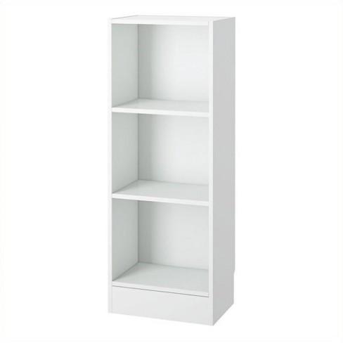 Wood 3 Shelf Narrow Bookcase In White Scranton Co