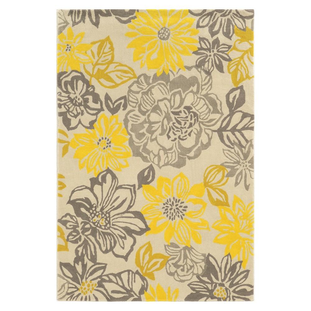 Trio Collection Garden Party Area Rug - Gray / Yellow (5' X 7')