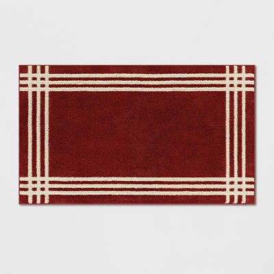 """20"""" x 34"""" Brownfield Border Easy Care Rug Red - Threshold™"""