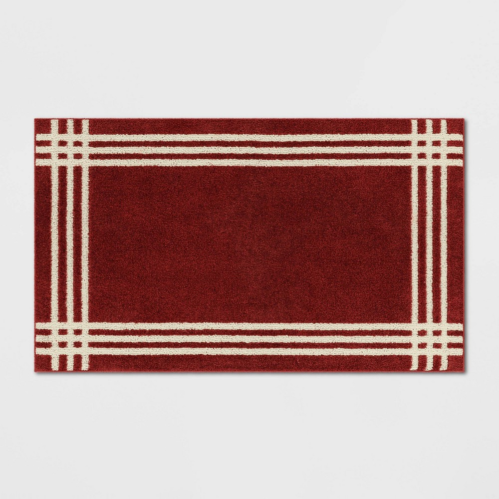 X 34in Border Easy Care Rug Red