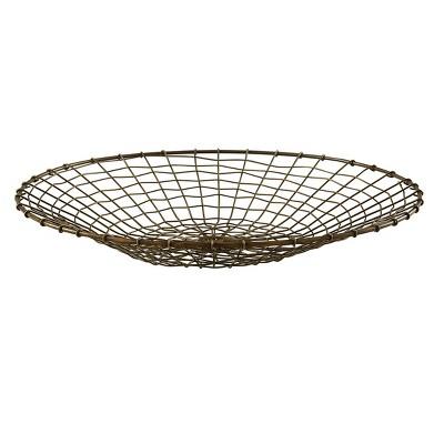 Split P Round Brass Wire Basket - Gray