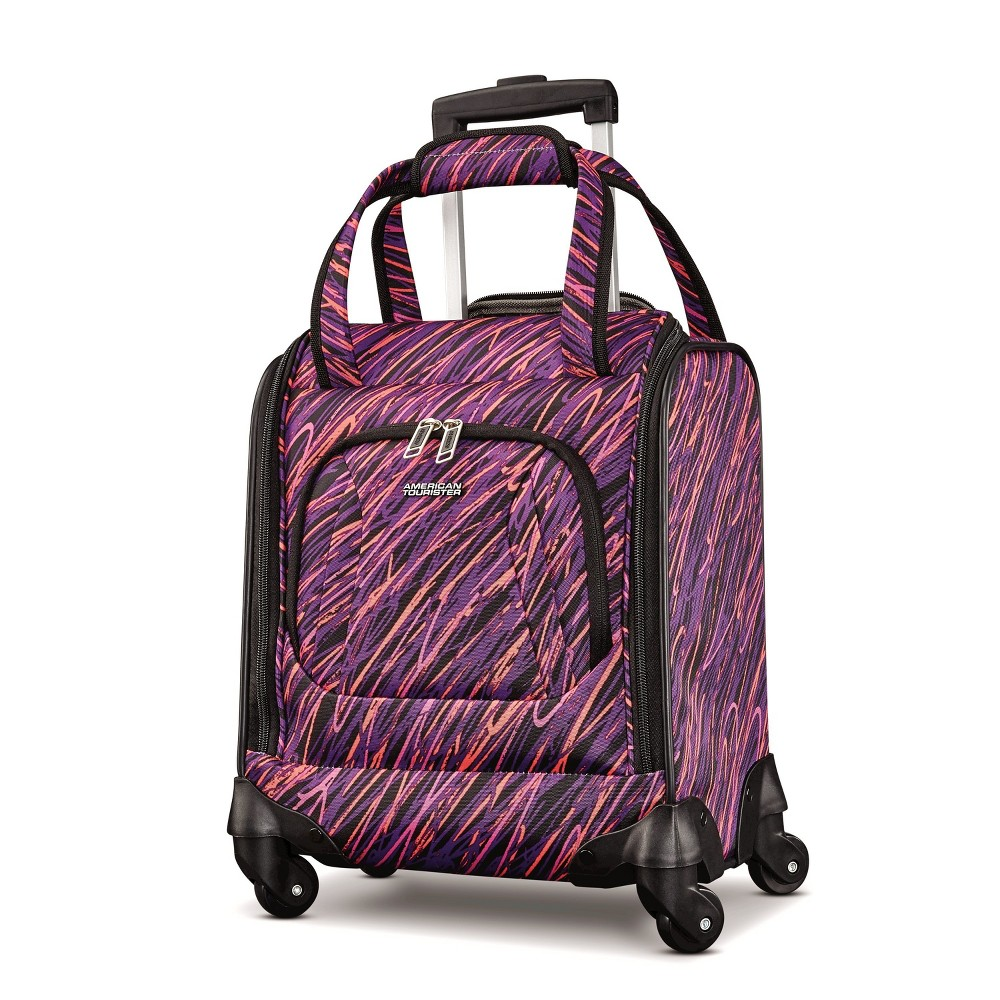 "Image of ""American Tourister 16.5"""" Avatar Carry On Underseater Spinner Suitcase - Scribbler Purple"""