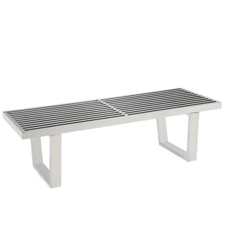 "Sauna 4"" Stainless Steel Bench Silver - Modway"