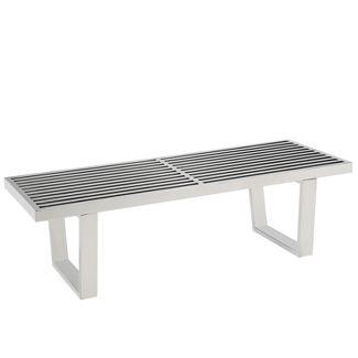 Sauna 4u0022 Stainless Steel Bench Silver - Modway