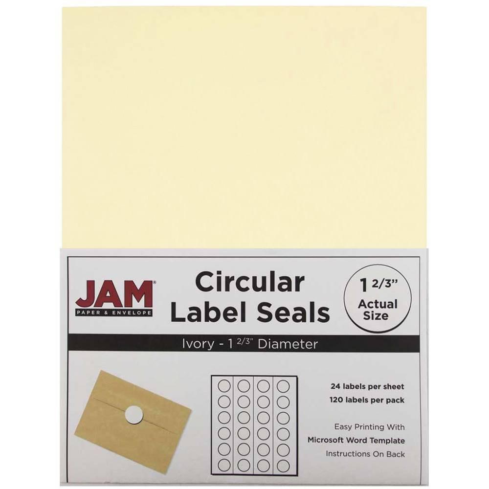 "Image of ""JAM Paper Circle Sticker Seals 1 2/3"""" 120ct - Ivory"""