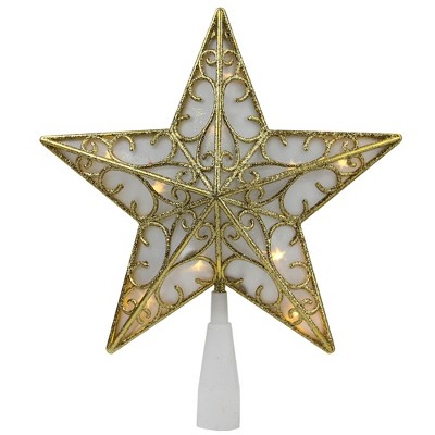 "Northlight 9"" Gold and White Glittered Star LED Christmas Tree Topper - Warm White Lights"