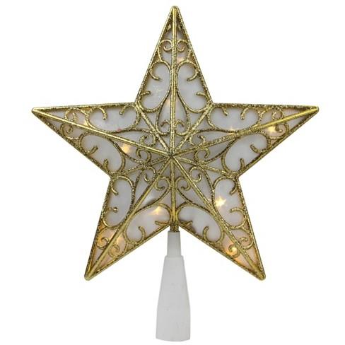 "Northlight 9"" Gold Glitter Star LED Christmas Tree Topper - Warm White Lights - image 1 of 2"