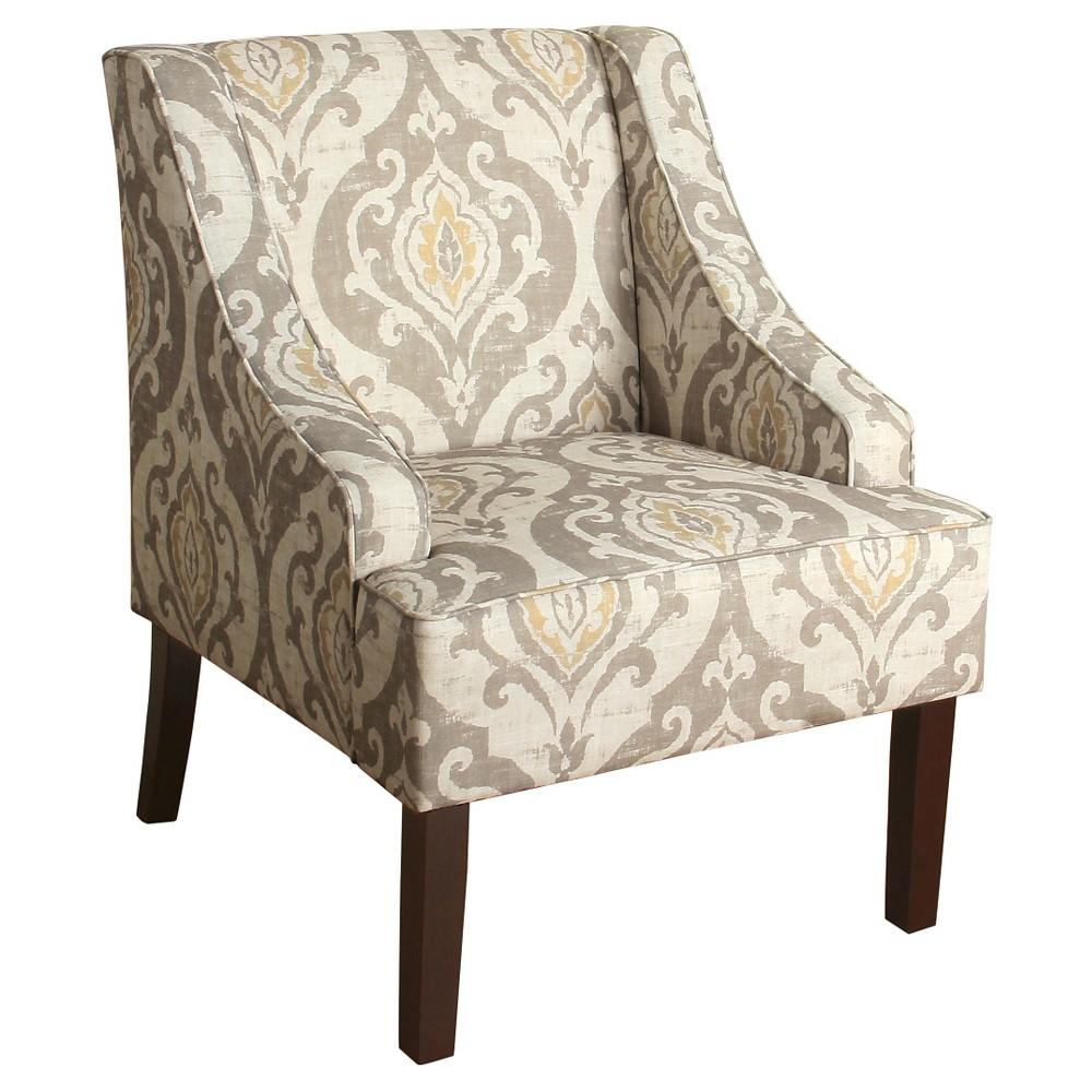Finley Swoop Arm Accent Chair - Natural Raffia - HomePop, Light Gray