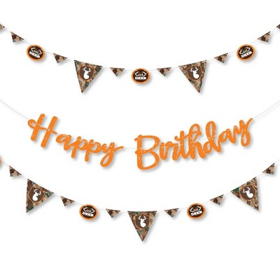 Big Dot of Happiness Gone Hunting - Deer Hunting Camo Birthday Party Letter Banner Decoration - 36 Banner Cutouts and Happy Birthday Banner Letters