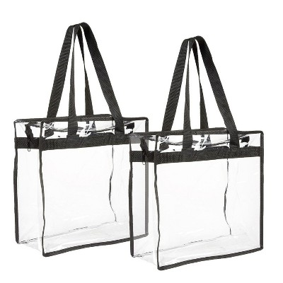 """2-Pack Transparent Bag - Clear Tote Bag with Zipper - Stadium Approved 11.75"""" x 11.5"""" x 5.75"""""""