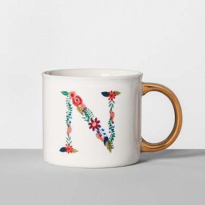 Monogrammed Porcelain Floral Mug N 16oz White/Gold - Opalhouse™