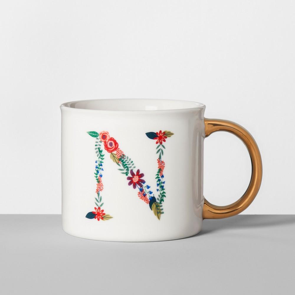 Terrific Monogrammed Porcelain Floral Mug N 16Oz Whitegold Opalhouse Andrewgaddart Wooden Chair Designs For Living Room Andrewgaddartcom