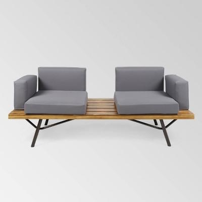 Canoga Acacia Wood Sofa - Teak/Dark Gray - Christopher Knight Home