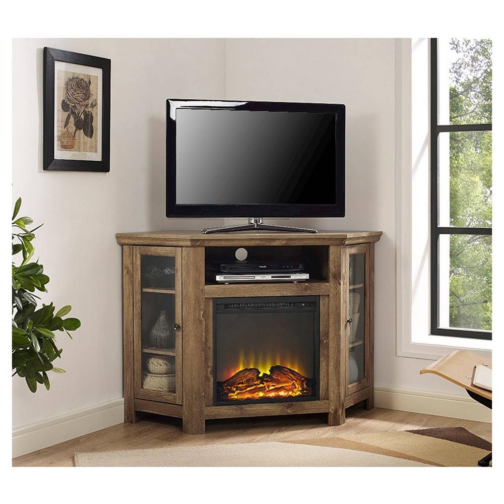 "Image of ""48"""" Wood Corner Fireplace Media TV Stand Console Barnwood - Saracina Home"""