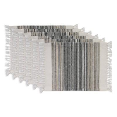 6pk Cotton Striped Fringe Placemats Black - Design Imports