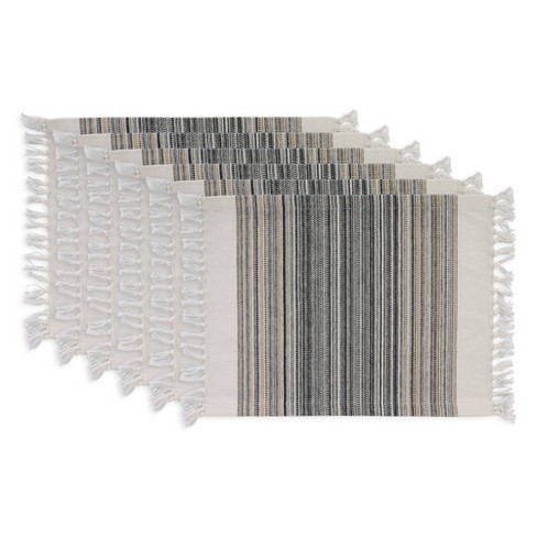 Striped Fringed Placemat Set of 6 - image 1 of 4