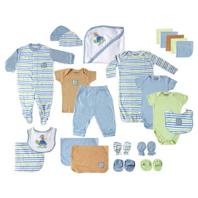 Luvable Friends Baby Boys' 24-Piece Deluxe Gift Set Monkey - Blue 0-6M