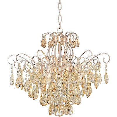 """Vienna Full Spectrum Champagne Gold Crystal Chandelier 24"""" Wide 6-Light Fixture for Dining Room House Foyer Kitchen Entryway"""