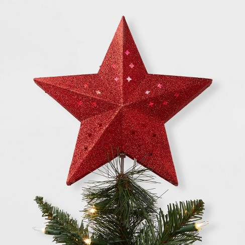 Christmas Tree Star.10 X 8 Rotating Projection Lights Star Christmas Tree Topper With Clip Red Wondershop