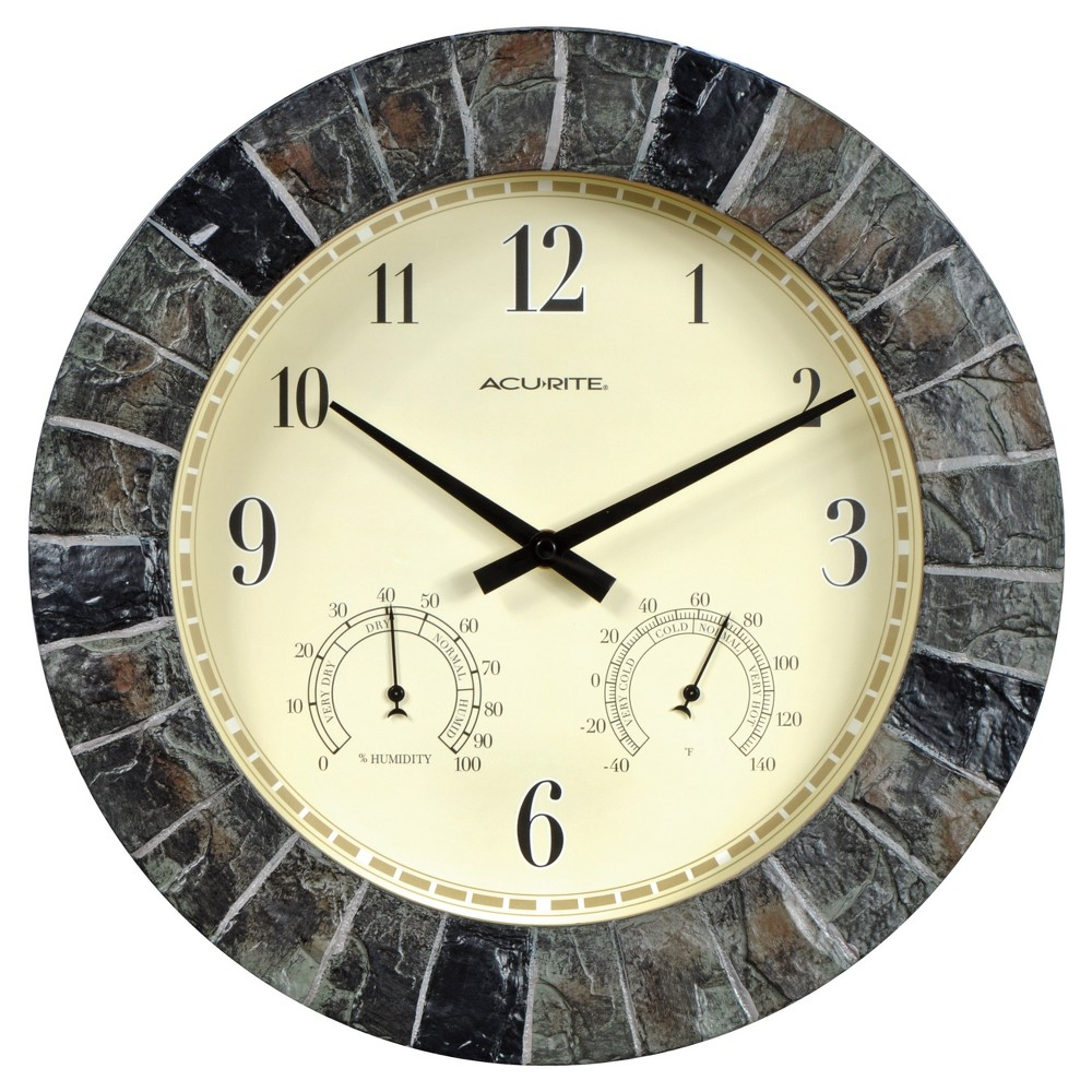 "Image of ""14"""" Outdoor / Indoor Wall Clock with Thermometer and Humidity - Faux Slate Finish - Acurite"""