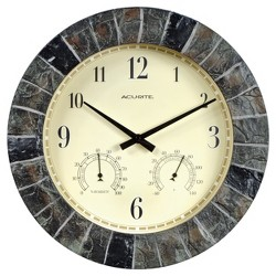"14"" Outdoor / Indoor Wall Clock with Thermometer and Humidity - Faux Slate Finish - Acurite"