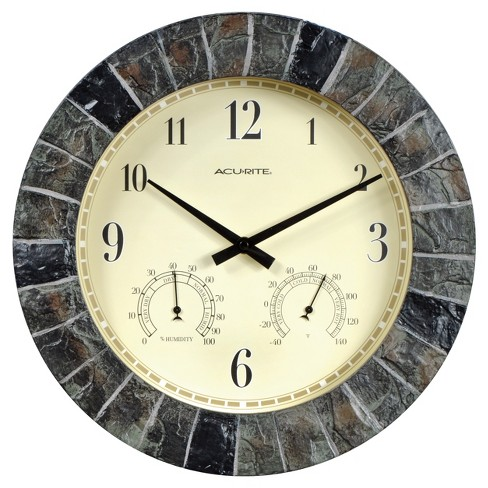 "14"" Outdoor / Indoor Wall Clock with Thermometer and Humidity - Faux Slate Finish - Acurite - image 1 of 3"