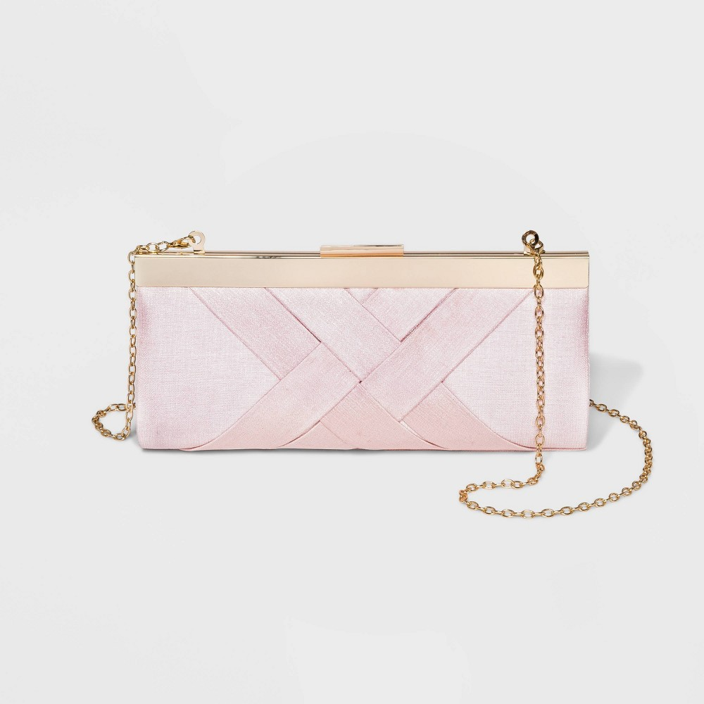 Image of Estee & Lilly Crisscross Textured Satin Frame Clutch - Blush, Women's, Size: Small