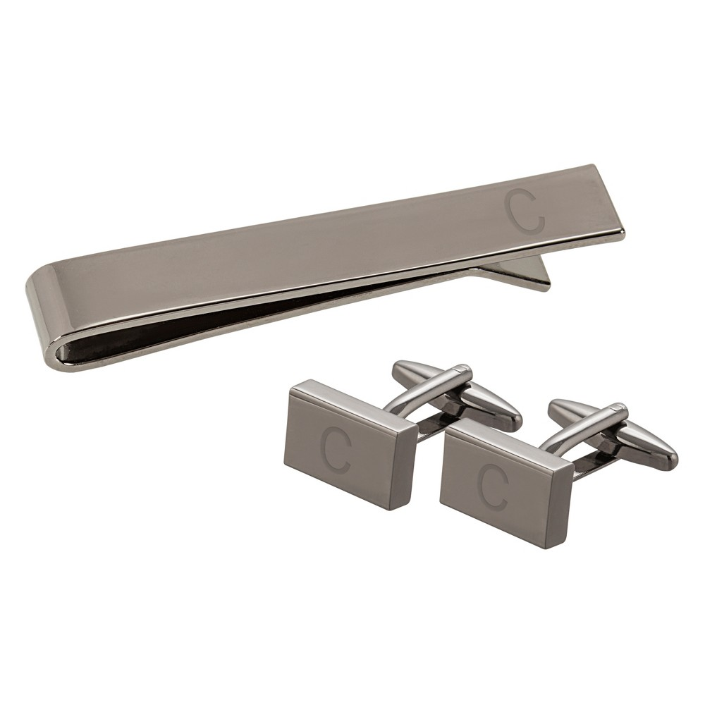 """Image of """"""""""""C"""""""" Personalized Rectangle Cuff Link and Tie Clip Set Gray, Men's"""""""