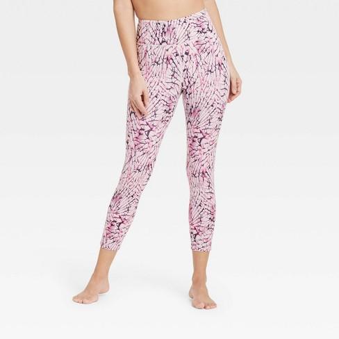 Women's High-Rise Printed 7/8 Leggings - JoyLab™ Assorted Pink - image 1 of 3