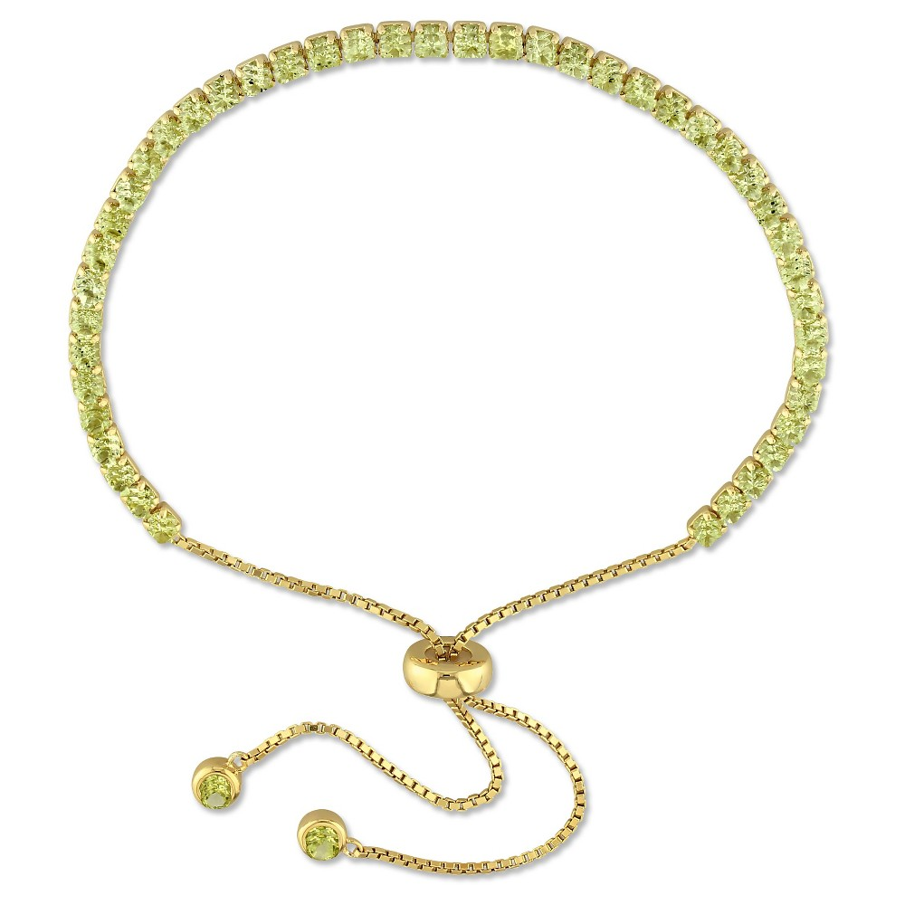 Image of 3 1/4 CT. T.W. Peridot Bolo Bracelet with Tassel in Yellow Plated Sterling Silver, Women's, Green