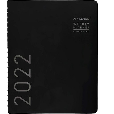 """AT-A-GLANCE 2022 8.25"""" x 11"""" Weekly/Monthly Planner Contemporary Black 70-950X-05-22"""
