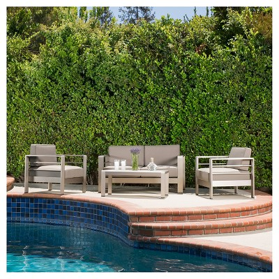 Cape Coral 4pc Cast Aluminum Patio Loveseat Set with Cushions - Silver - Christopher Knight Home