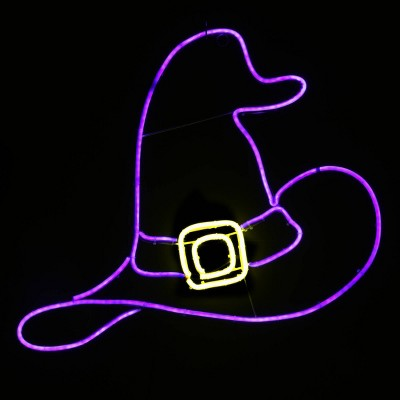 """24"""" 2D Neon White/Purple Witch Hat with LED Lights Halloween Lights"""