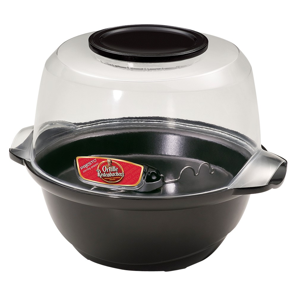 Presto Orville Redenbacher's Stirring Popper - Black (7 Qt)- 05204 The Presto Orville Redenbacher's Stirring Popper is an electric popcorn popper that will look great in any kitchen. Prepare delicious hot popcorn with just the right amount of melted butter. Use popper as a serving bowl to serve up your popcorn.