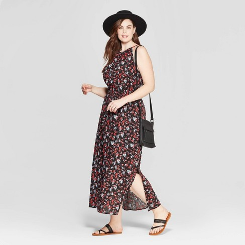 7b67c69f9c Women's Plus Size Floral Print Sleeveless Crew Neck Maxi Dress - Universal  Thread™ Black : Target